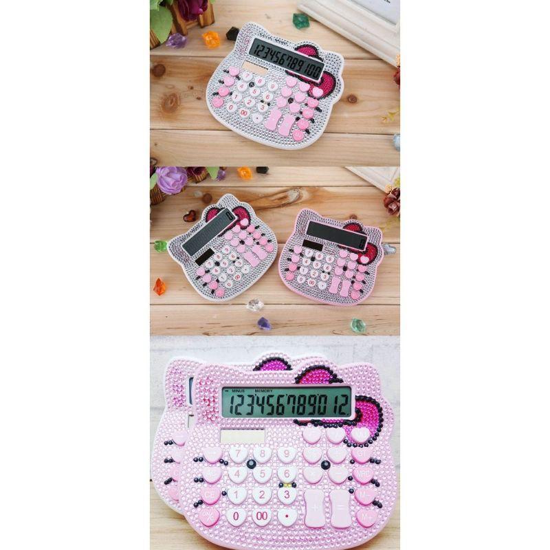 Hellokitty  Diamond Decoration Cute Solar Digital Calculator