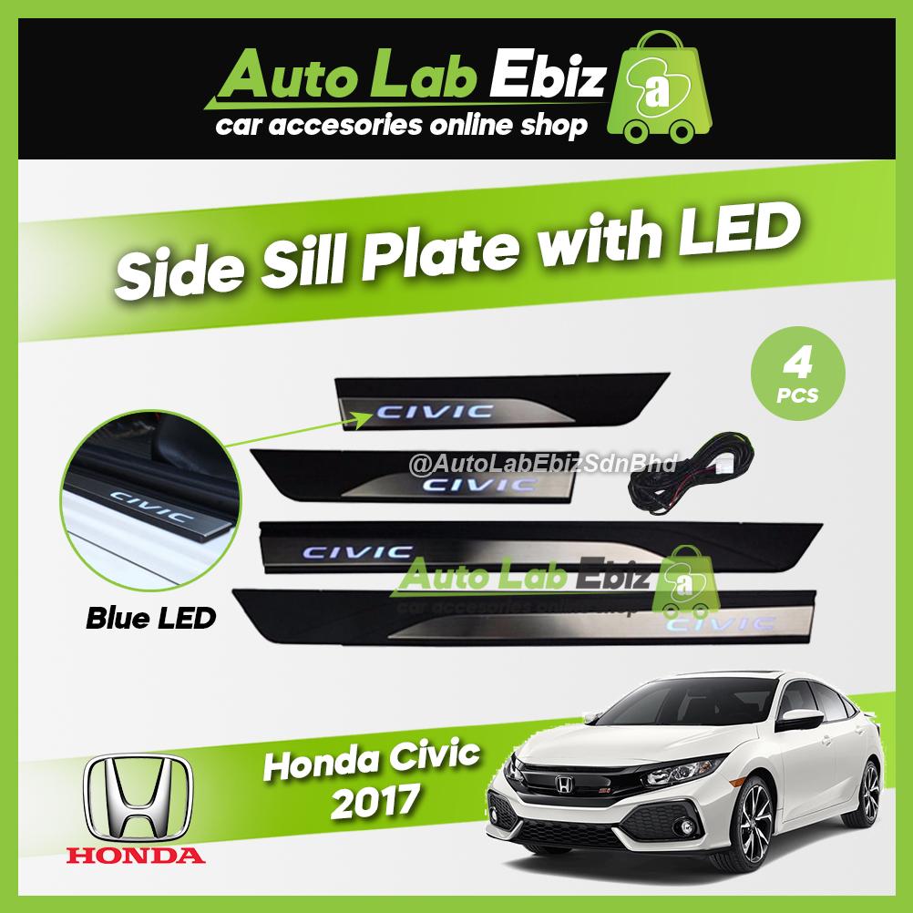 Honda Civic 2017 Side Sill Plate with LED Blue (4 pcs/set)
