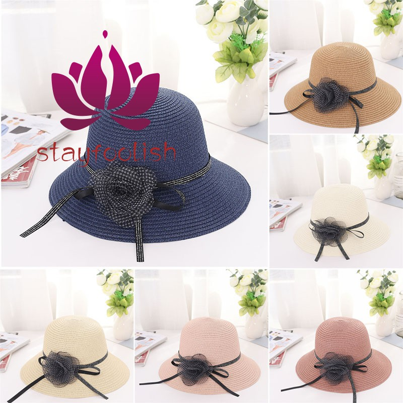 db1697a05 Women Sun Protective Strawhat Flower Decor Simple Breathable Beach Cap for  Outdoor
