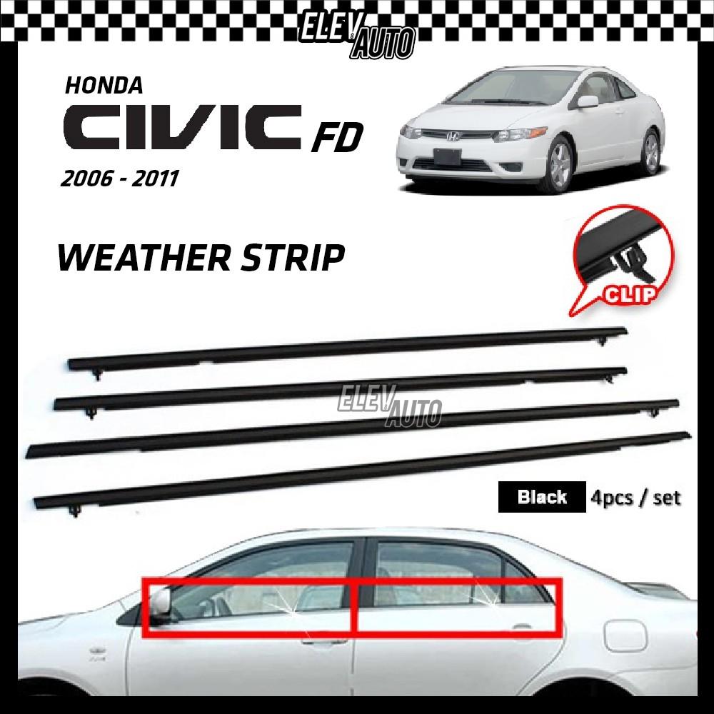 Honda Civic FD 2006-2011 Weather Strip Weatherstrip Window Moulding Belt 4pcs (Black)