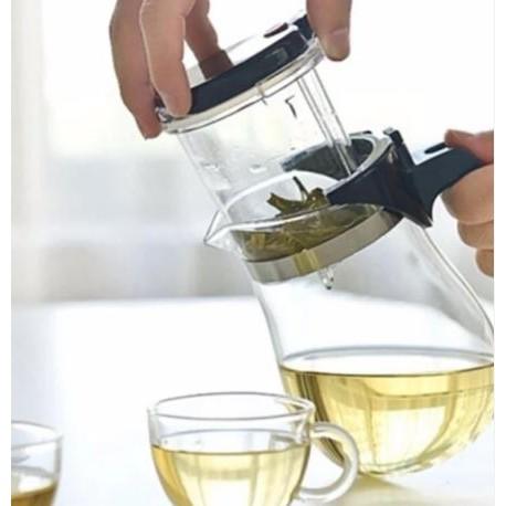 กาแก้วใส่น้ำชาทรงโค้งDesign สวยมีถ้วยกรองชาสะดวกสบายดื่ม