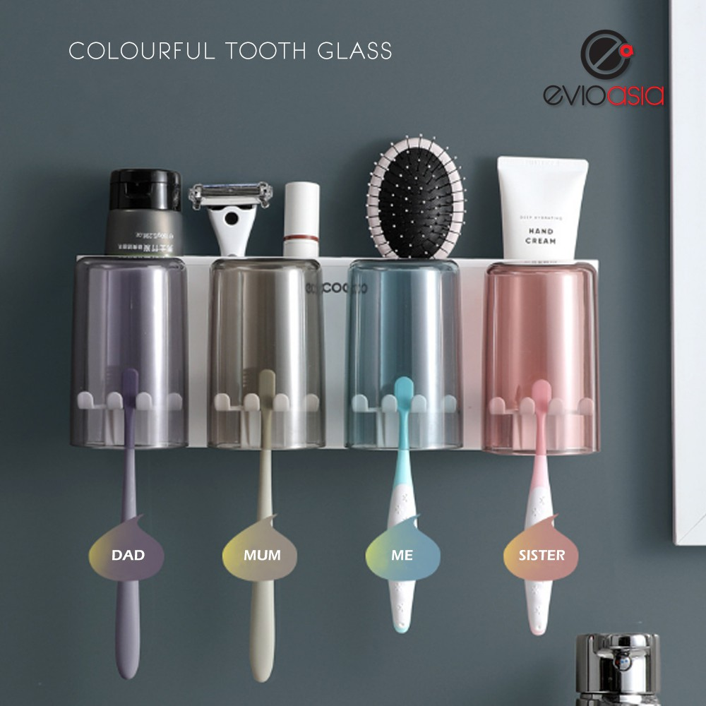 No Drilling Bathroom Dust-Proof Toothbrush Holder with 4 Cups