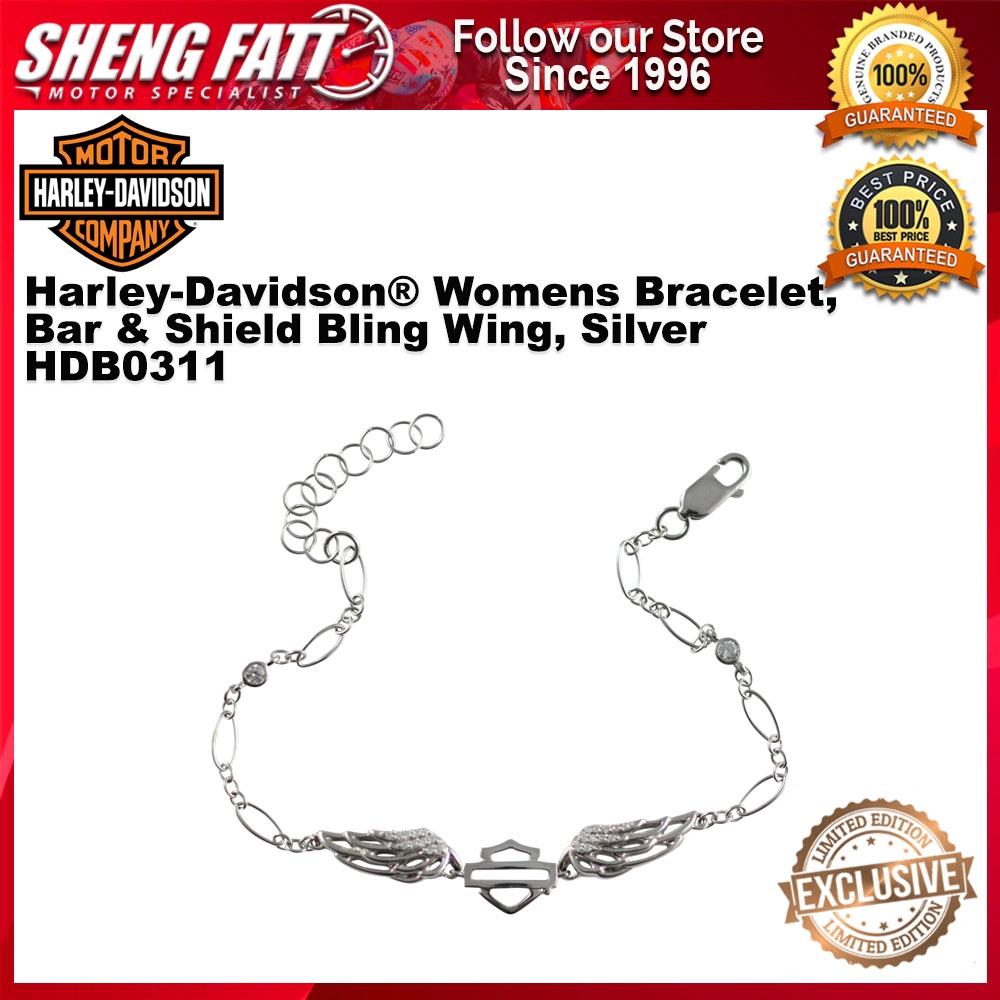 Harley-Davidson® Womens Bracelet, Bar & Shield Bling Wing, Silver HDB0311 size 7