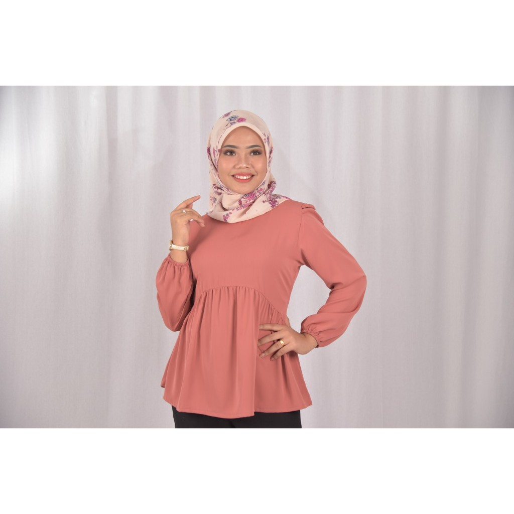 [Readystock] LAURA Muslimah Fashion Blouse Design - Premium Valentino Silk  Long Sleeves Plain