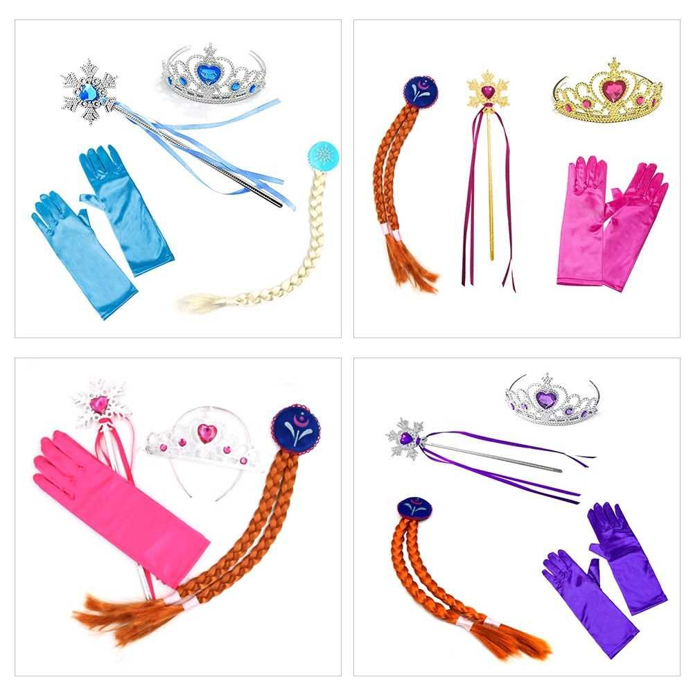 4Pcs/Set Princess Accessories Crown Wig Gloves Magic Wand Cosplay Toy Set for Kids Dress Party Girl Gifts (Gold1)