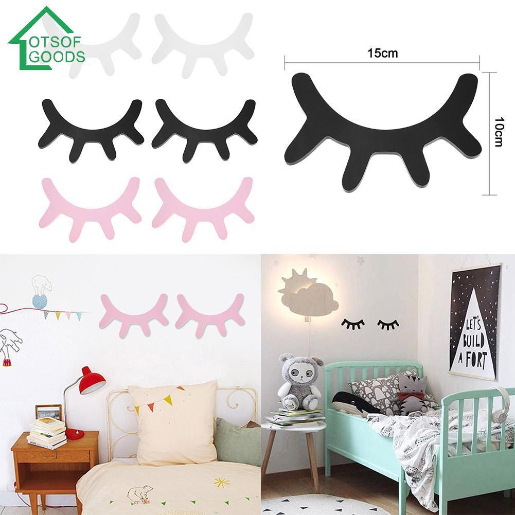 Cartoon Wood 3D Sleepy Eyelash Wall Stickers Decal DIY Art Kids Room Home Decor