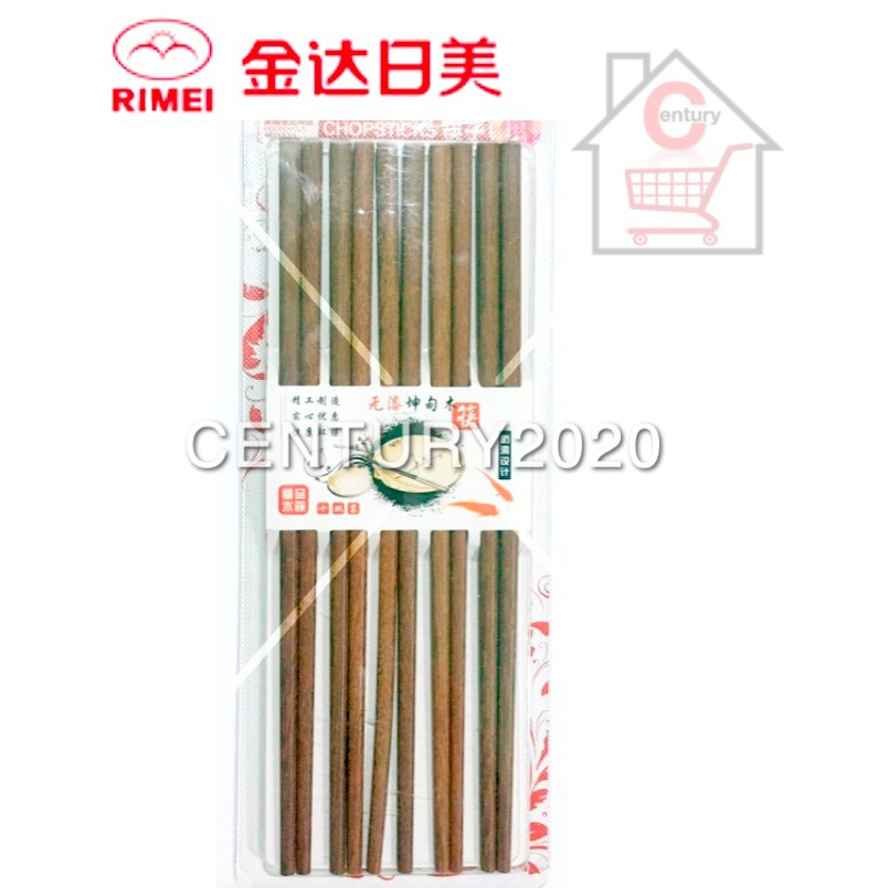 RIMIE Natural Wood 10 Pairs Red Sandal Wood Chinese Chopsticks Non Painted Chop Stick 31314