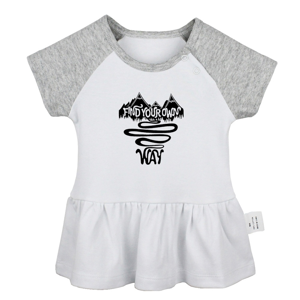 Find Your Own Way Design Newborn Baby Girls Dresses Toddler 8% Cotton  T-shirt Dress Infant Clothes Vest Tops
