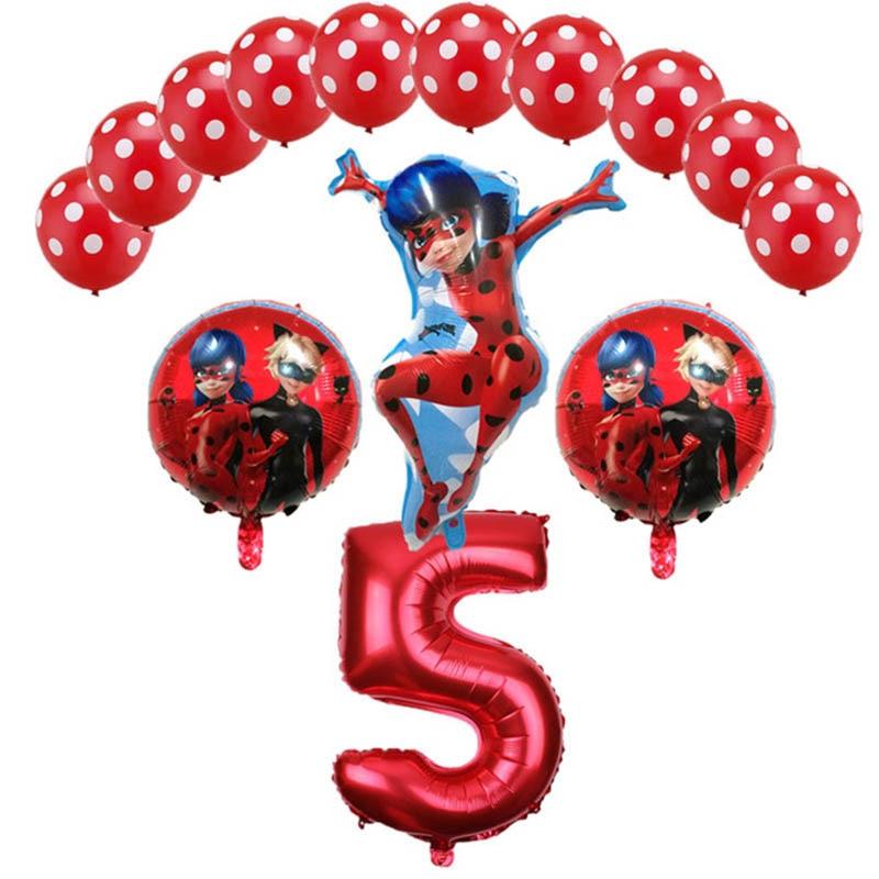 0af97bb4d 14 Pcs/set Miracul Ladybug Helium Foil air Balloon Toys Wholesale ...