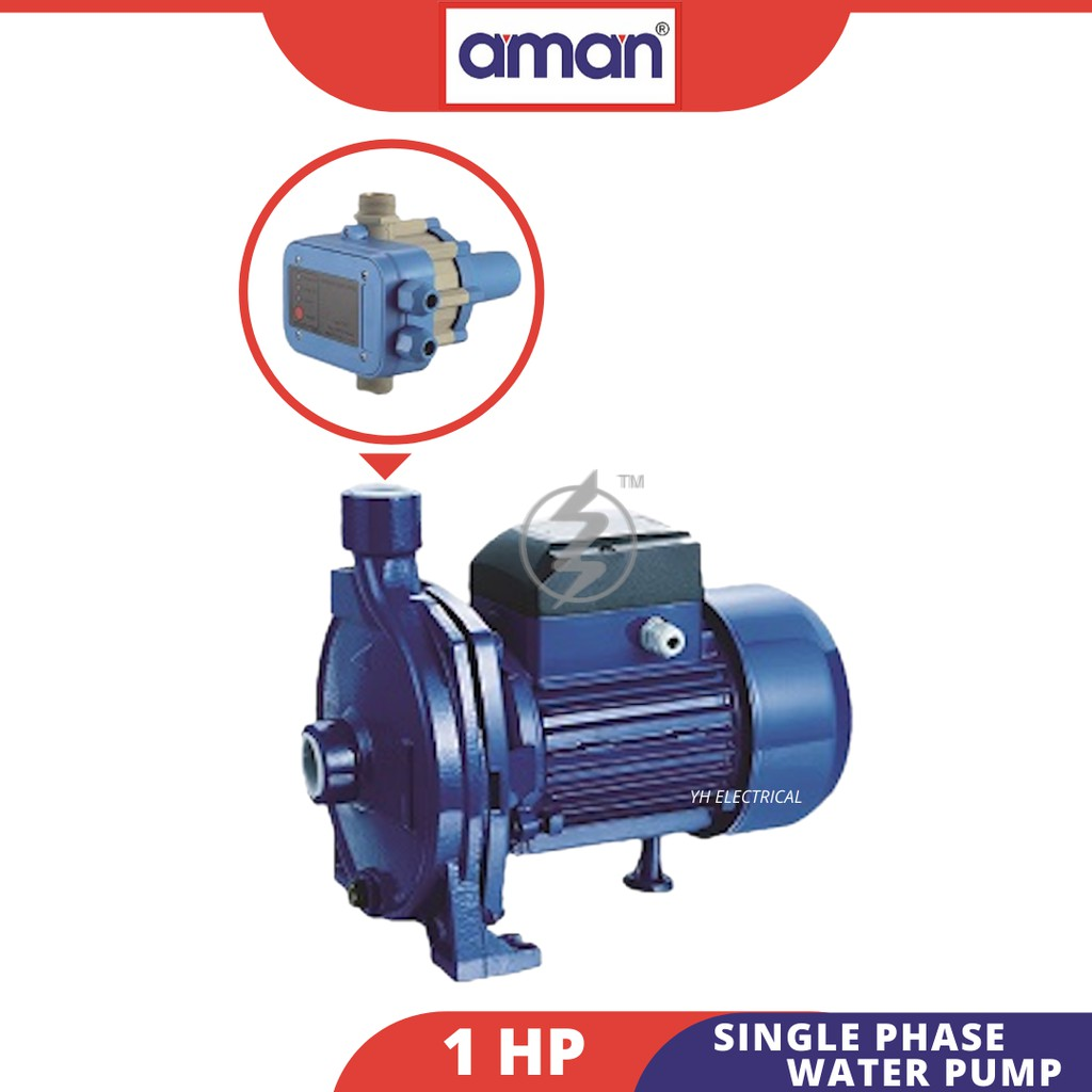 AMAN 1HP 750W HIGH QUALITY Single/Mono Phase Water Pump 240VAC (100% Copper Wire)