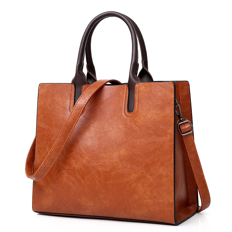 06dee1b2701 Ready Stock Large Leather Handbags Women Shoulder Bag Vintage Top-handle  Totes