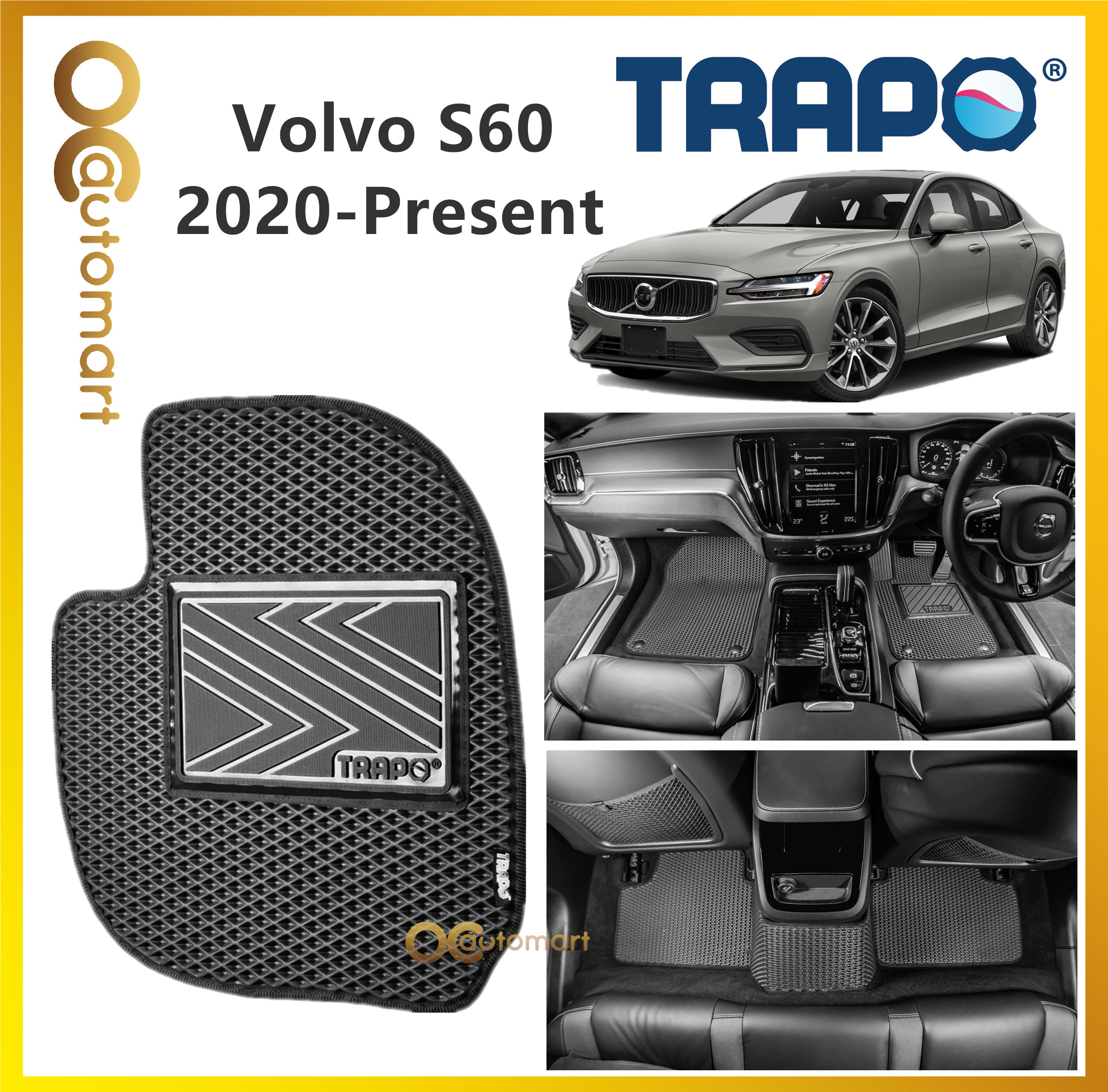 TRAPO Customize Car Floor Mat Volvo S60 ( 2020 - Present ) Black Base with Red Grey Blue Black Lining