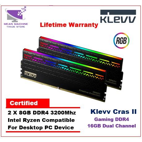 Klevv Cras II 16GB 3200Mhz Dual Channel RGB Gaming DDR4 Ram