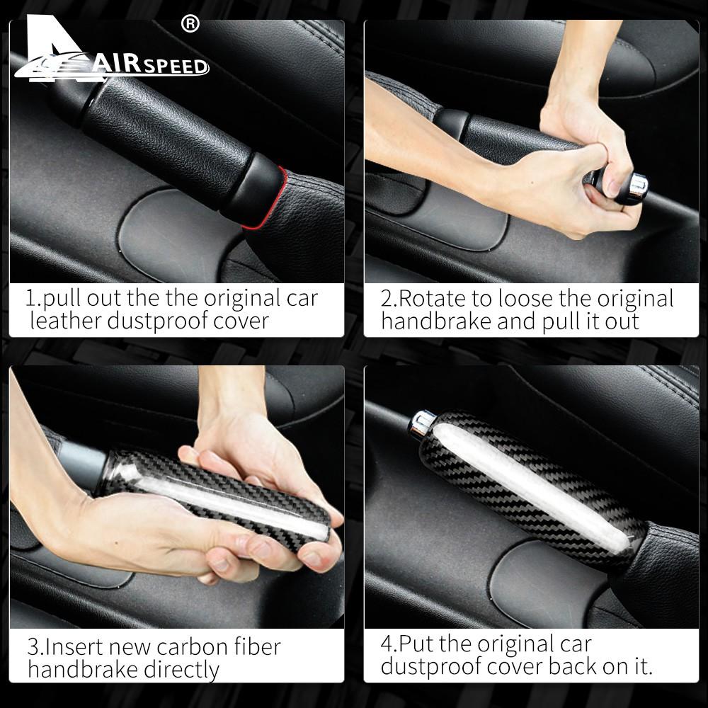 Carbon Fiber AIRSPEED Car Handbrake Cover Grip Handle Lever Trim for Mini Cooper R55 Clubman R56 R57 R58 R59 R50 R53 Accessories