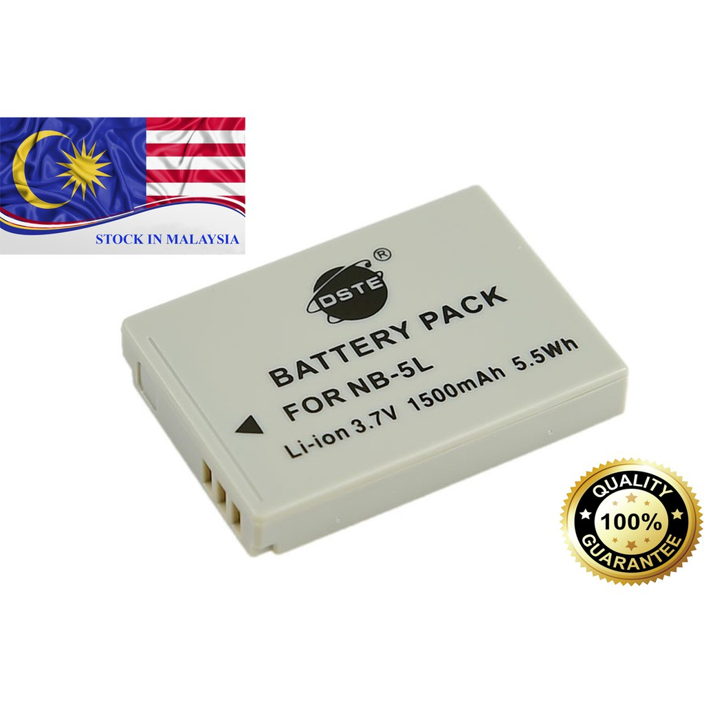 DSTE NB-5L Replacement 3.7V 1500mAh Battery  for Canon IXUS 990 / S110 (Ready Stock In Malaysia)