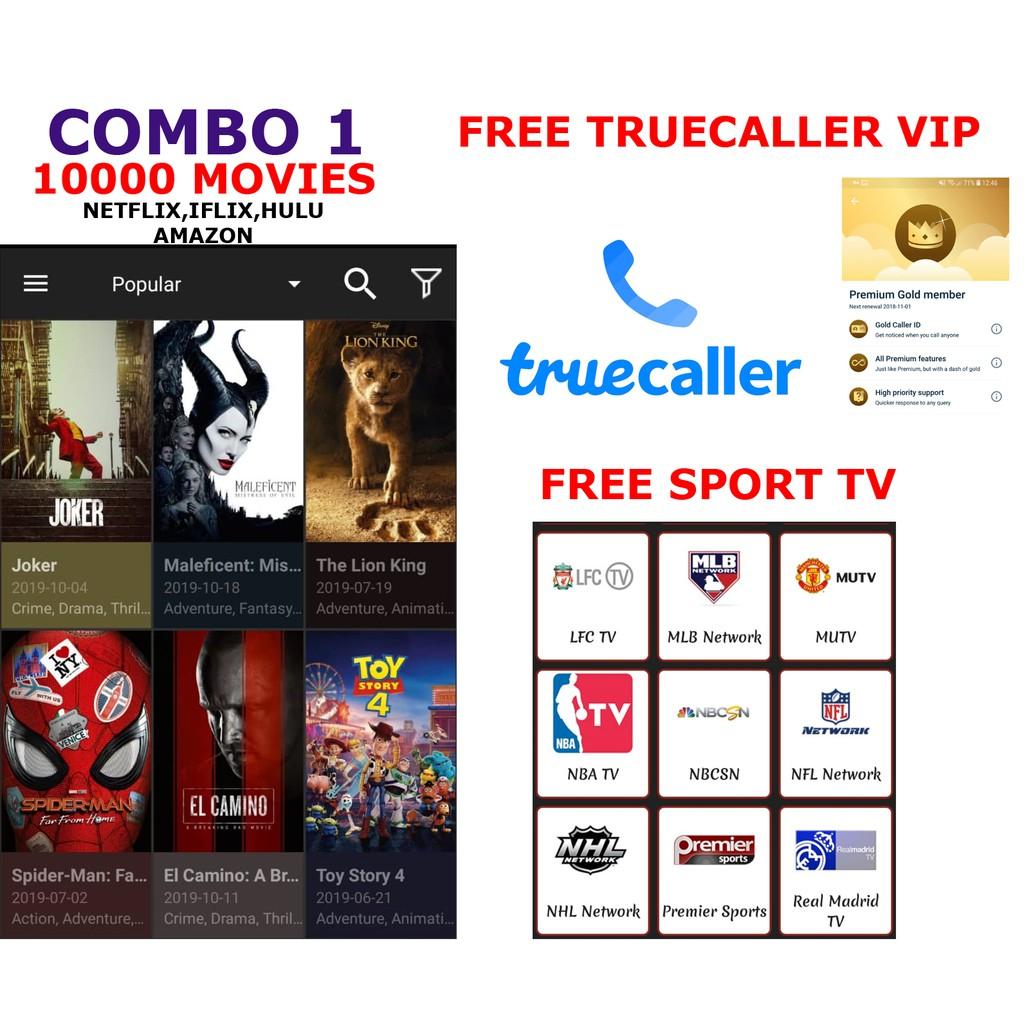 10000 Movies Netflix,Iflix,Hulu,Amazon,Warner Brother Disney + Free Sport  Chanel + True Caller VIP