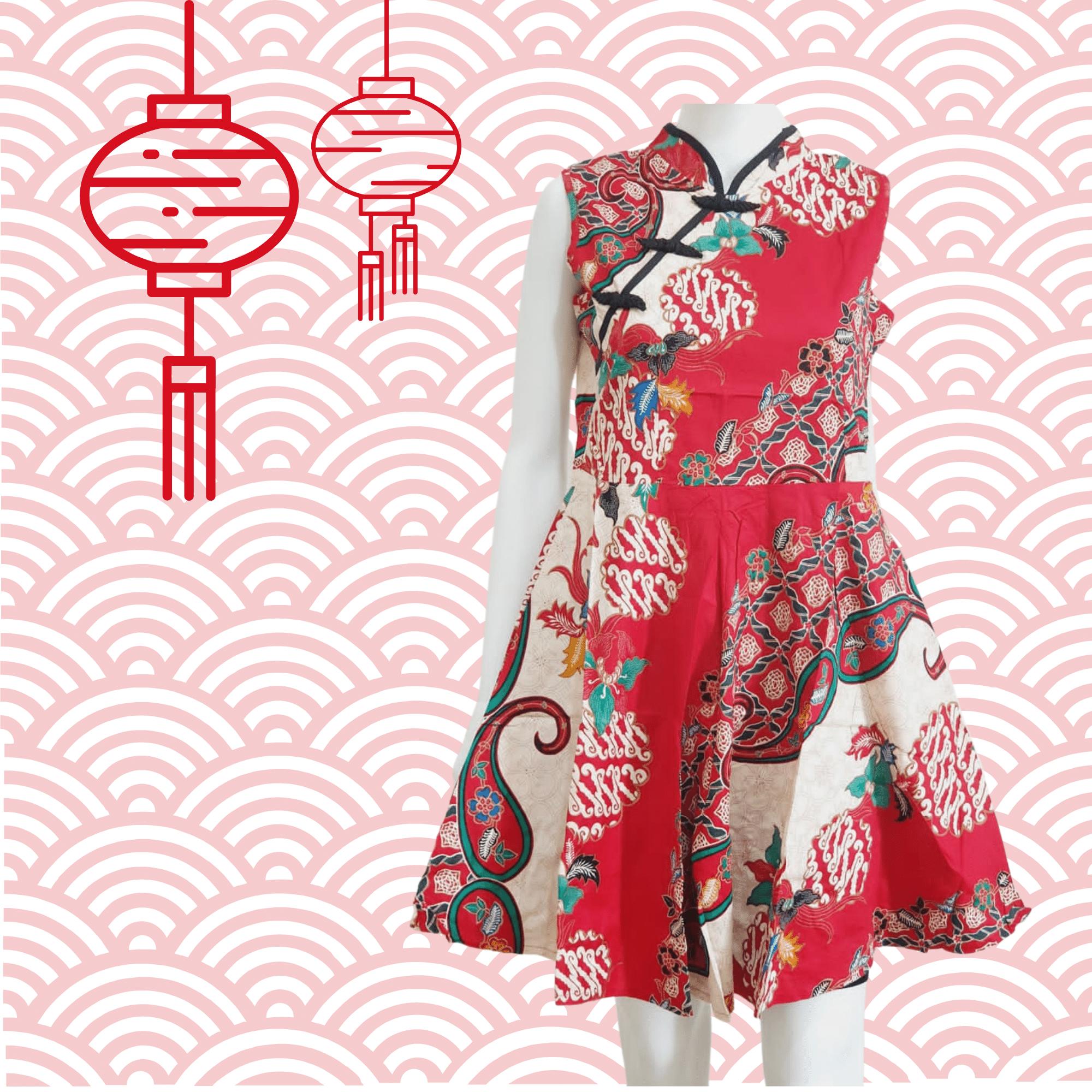 Cheongsam Batik Red Dress Sleeveless 677C