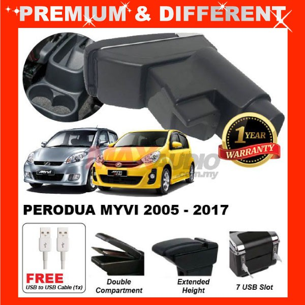 [FREE GIFT Gift] PERODUA MYVI SE1 SE2 EZI, LAGI BEST, ICON 2005 - 2017 ADJUSTABLE ARMREST 7 USB PORT