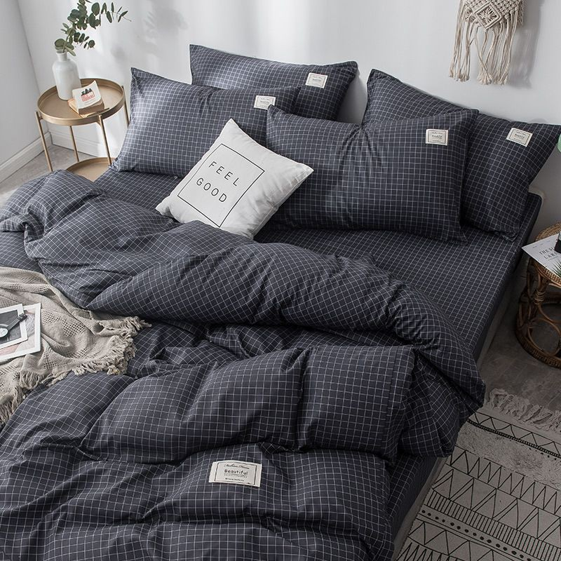 Queen 4in1 Nordic Minimalist Plain Grid Quiltcover Bedding Set