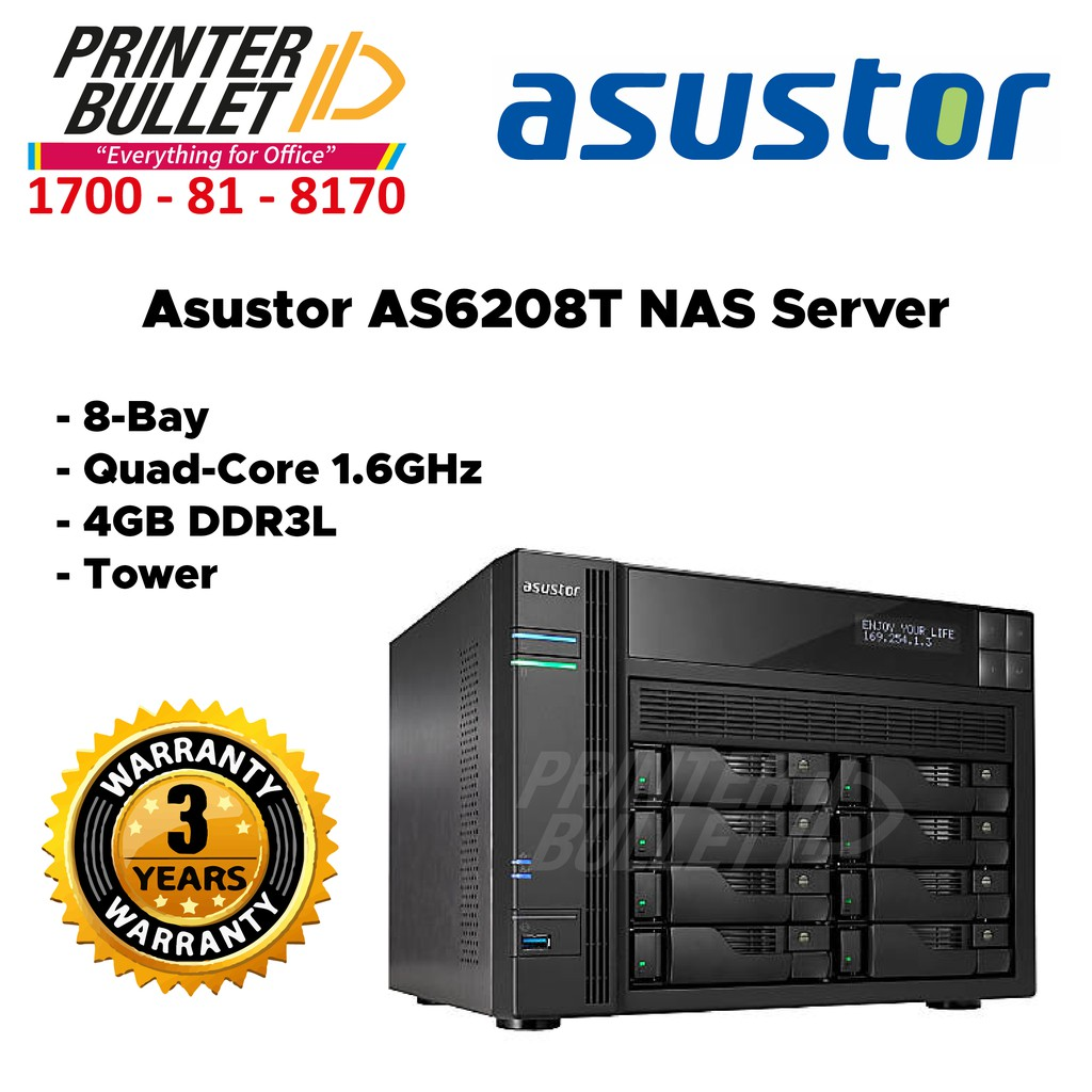 Asustor AS6208T NAS Server (8-Bay, Quad-Core 1.6GHz, 4GB DDR3L, Tower)