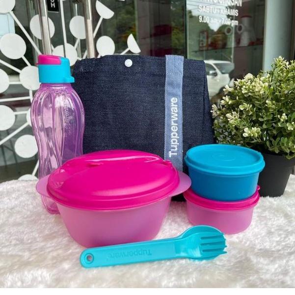 Safe 2 Go Set Tupperware (5) / PWP Blue Jeans Satchel Bag (1) / Safe 2 Go Full Set + Bag