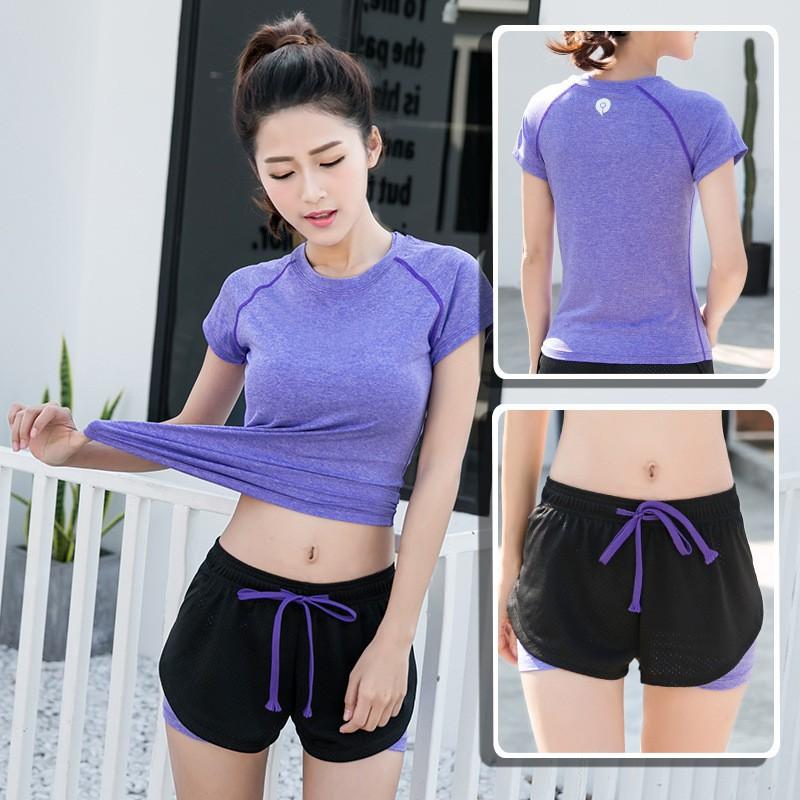 b8abcf802e4 Women Workout T-Shirt+Shorts Set Fitness Sportswear Running 5 Colors Yoga  Set