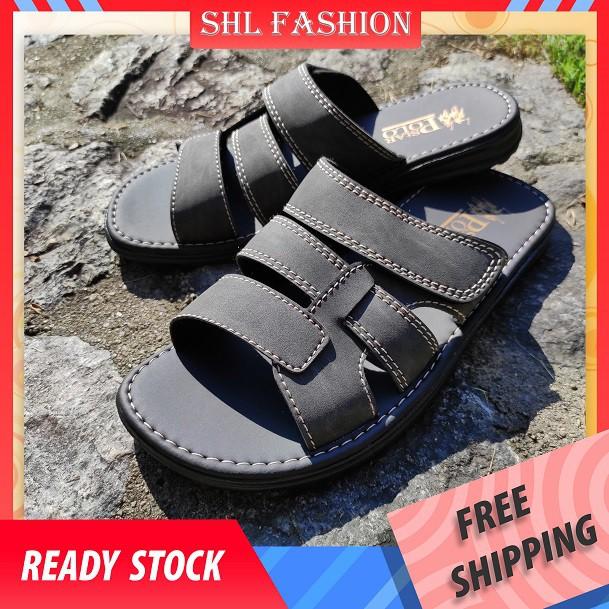 SHL Men PU Leather Sandal THREE STRAP Slip On Selipar Kasut Lelaki size 39-44【男士拖鞋】-403