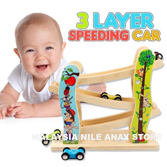 READY STOCK🌹 TRACK KERETA PERMAINAN 3 TINGKAT + 4 KERETA / 3 layer Miniature Speeding Car Arc Wooden Race Track