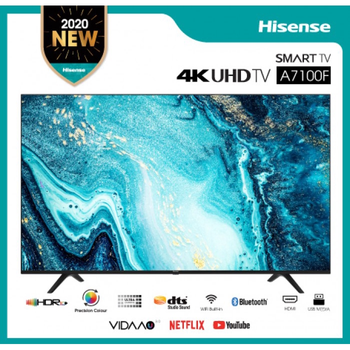 "Hisense 43"" Ultra HD 4K UHD Smart LED TV Built-in Youtube / Netflix /  DVB-T2 Mytv Myfreeview (A7100 Series) 