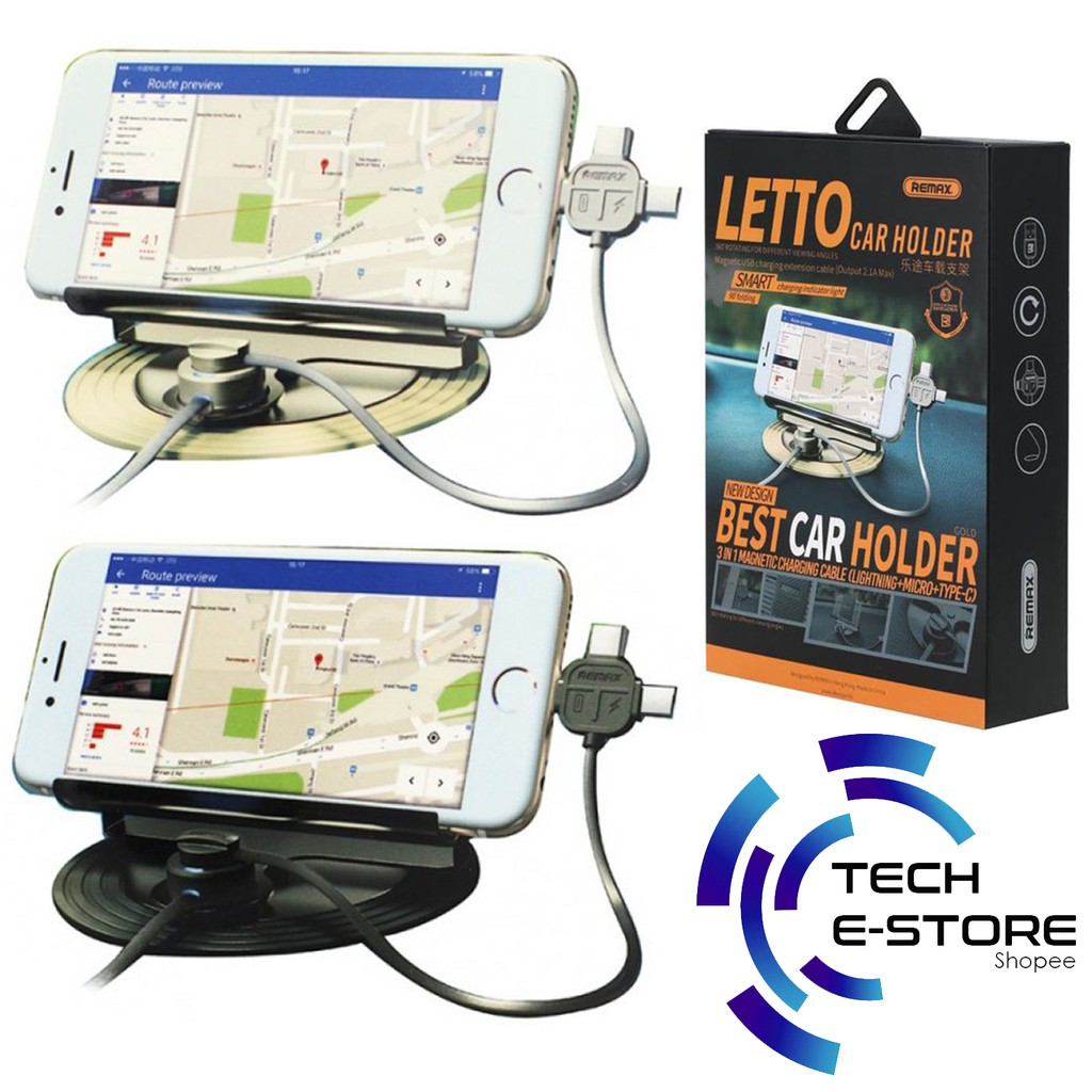 Remax Letto Rc Fc2 Car Mount Phone Holder With 3in1 21a Magnetic Super Flexible Design Charging Cable Shopee Malaysia