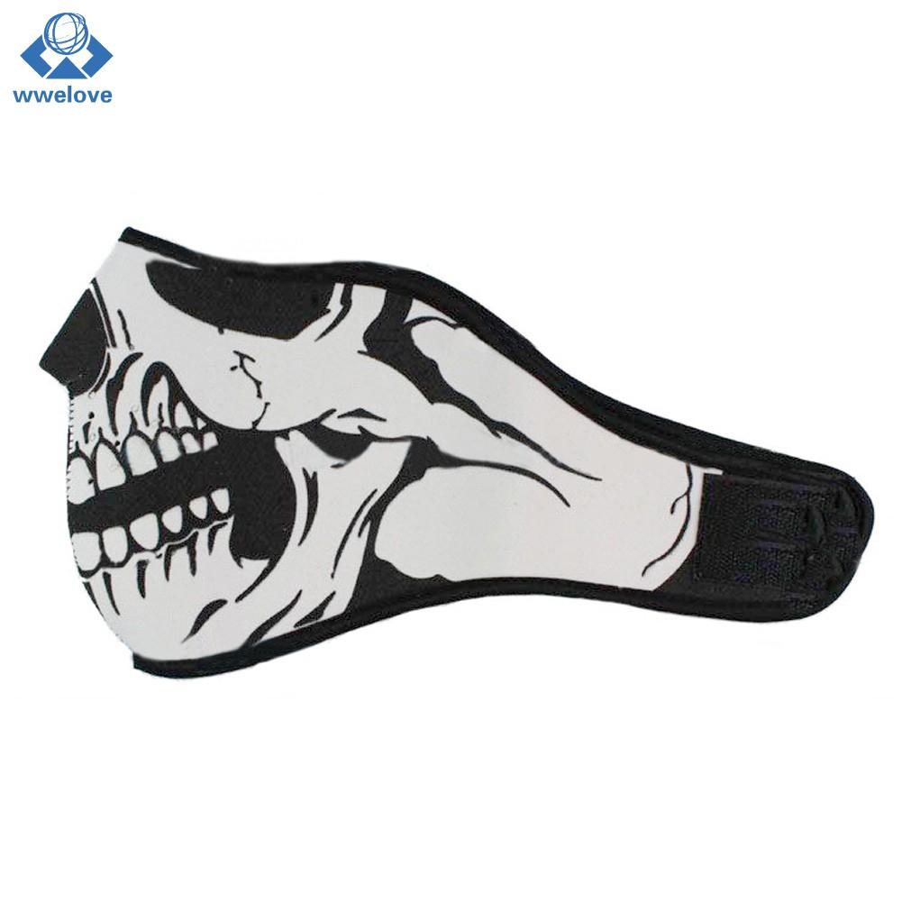 Harley Rider Biker Skateboard ATV Scooter Skull Half Face Skeleton Fang Mask