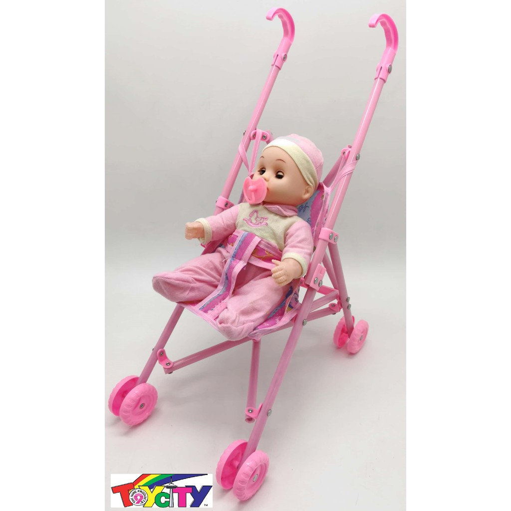 FOLDABLE BABY DOLL STROLLER WITH BABY DOLL KIDS PLAY SET BABY DOLL (11 INC)