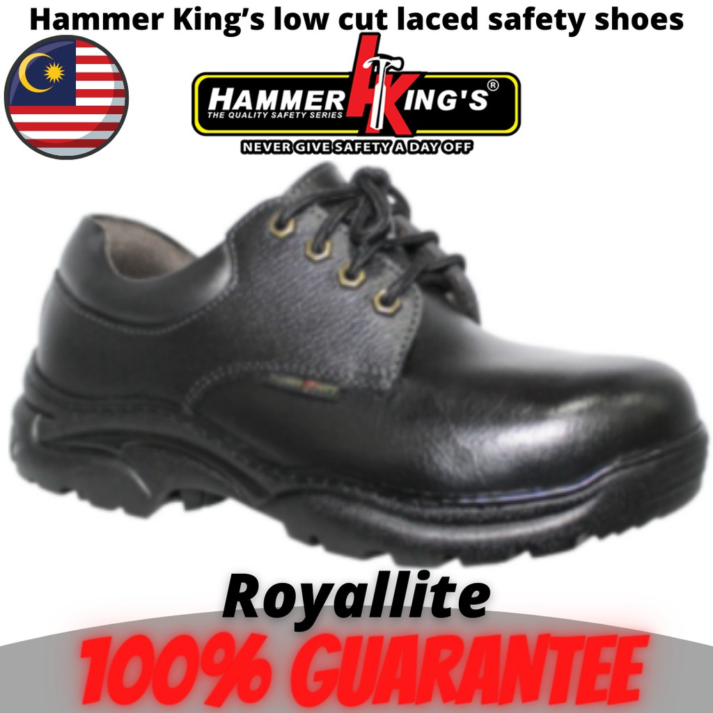 Hammer King's ORIGINAL low cut laced safety shoes (13008) Black