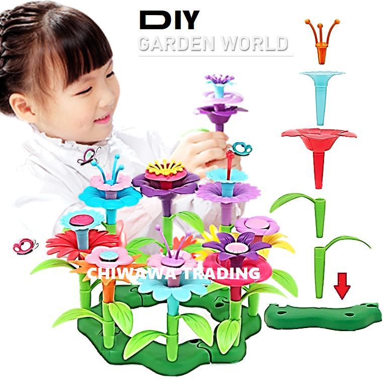 Puzzle Patchwork DIY Stacking Flower Arrangement Bricks Building Blocks Plants Garden World Pretend Play Toys / Bunga