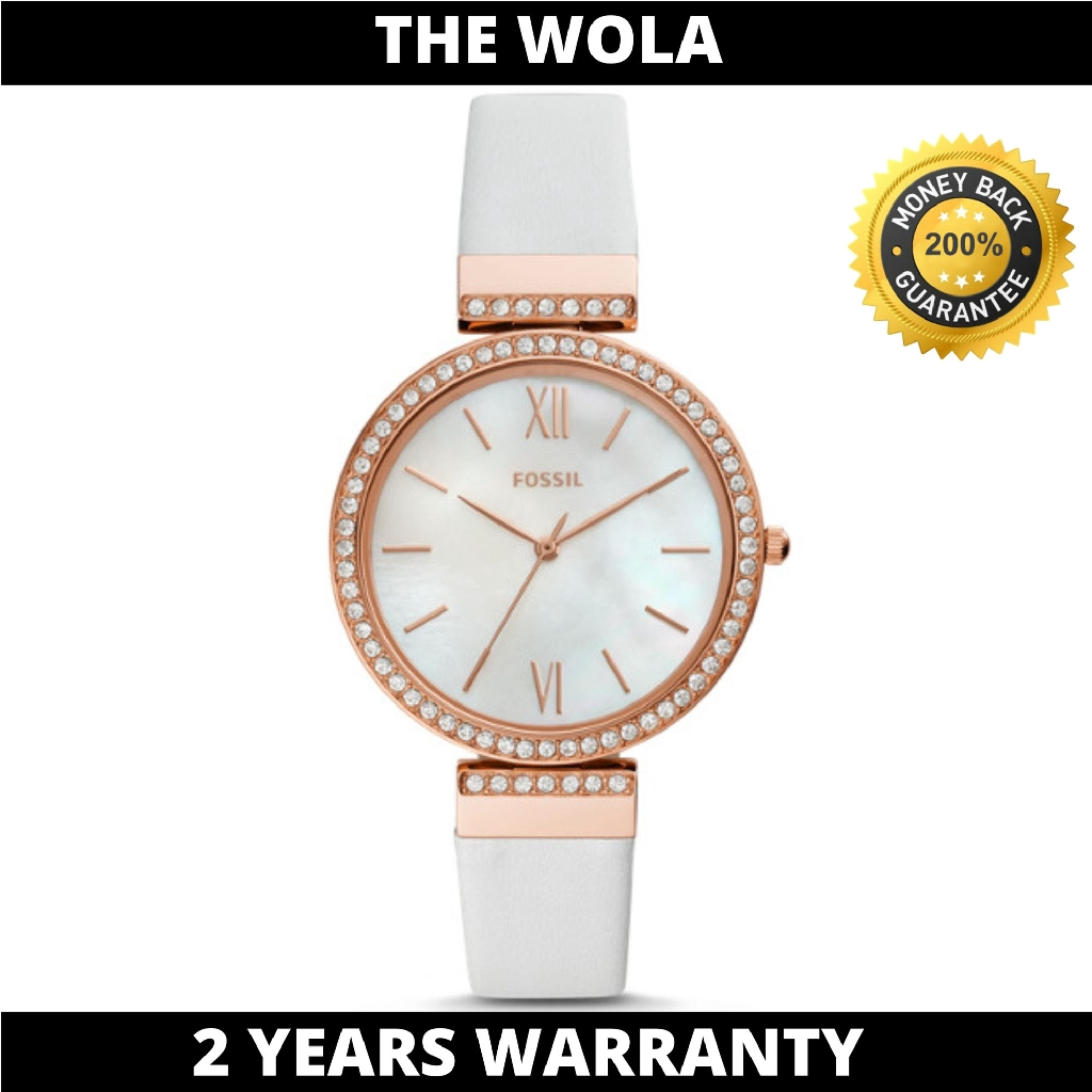 Fossil Women's Madeline Three-Hand White Leather Watch ES4581