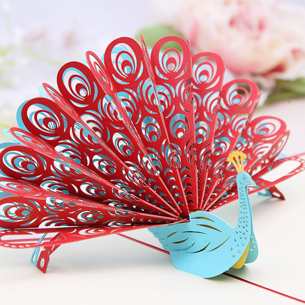 AA 3D Pop Up Laser Cut Greeting Cards Peacock Shape Birthday Invitations Card