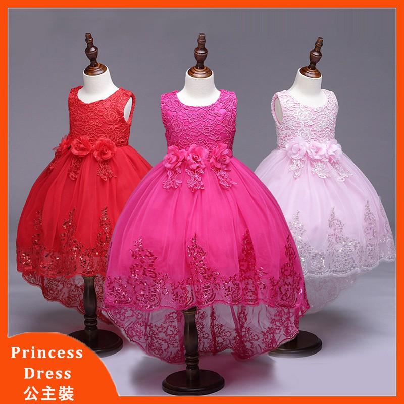 Girl Bridesmaid Tutu Dress Flower Kids Party Sequin Bow Wedding Princess Dresses