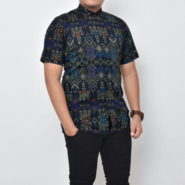 O.Song Tosca Baju Kemeja Songket Batik Shirt Lengan Pendek Slim Fit