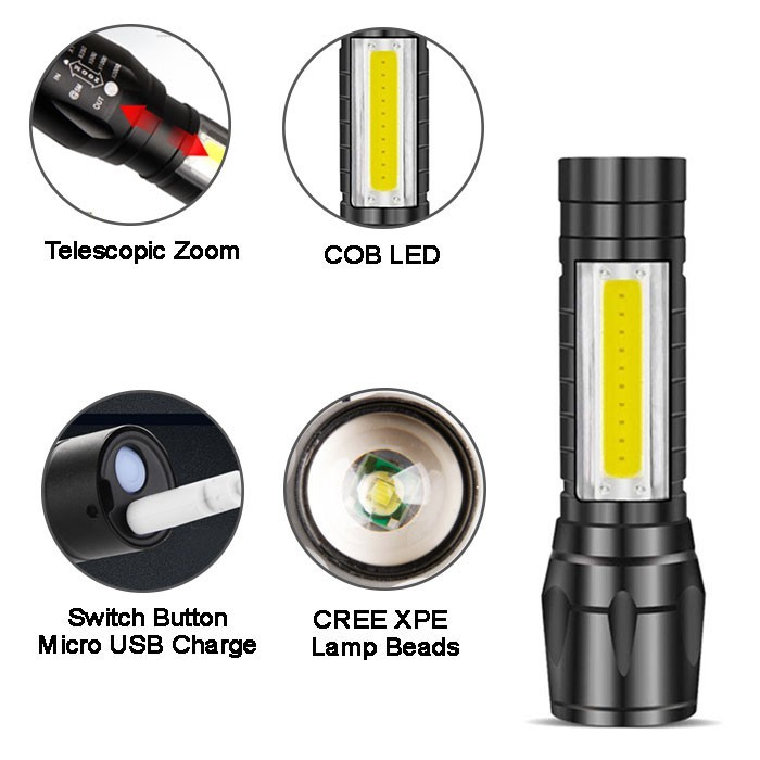 Portable T6 COB XPE LED USB Rechargeable Zoomable Flashlight Torch Lamp Light