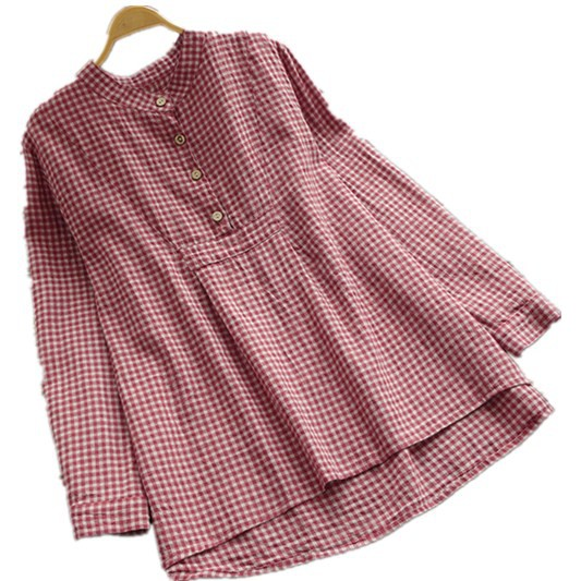 87701e617d2 ZANZEA Women's Plus Size Button Up Long Sleeve Plaid Blouse
