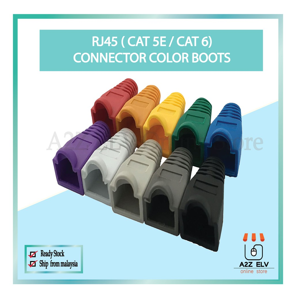 Cat 5E / Cat 6 - RJ45 Connector Color Boots -1 Pack 100 UNIT c/w White Color