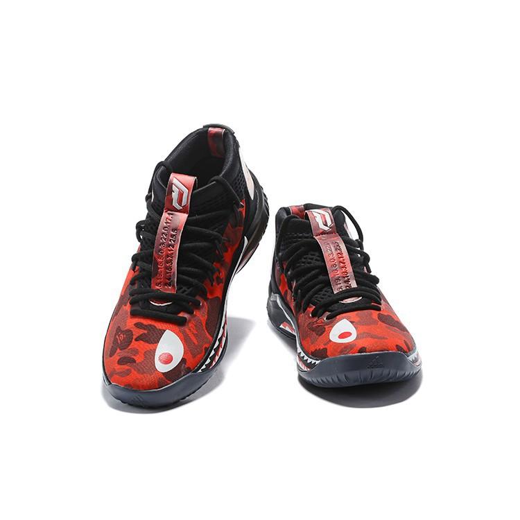 8.16 Sales!BAPE x adidas Dame 4 Red Camo BlackRedWhite