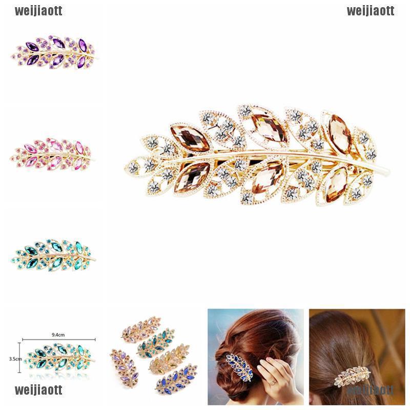 Women/'s Exquisite Leaf Crystal Rhinestone Barrette Hairpin Hair Clip Headband