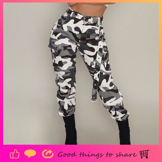 3d35f4721c085 Womens Camo Cargo Trousers Casual Pants Military Army Combat Camouflage  Pants