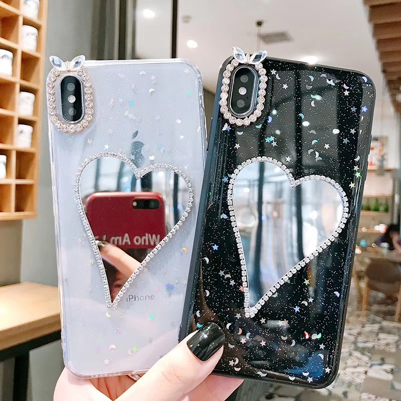 Vivo Y17 Y3 Y91C Y81 Y81i Y71 Y71i Y85 V9 V7 Plus V11i V11 V15 Pro Y12 Case  Soft Flashing with Love Mirror