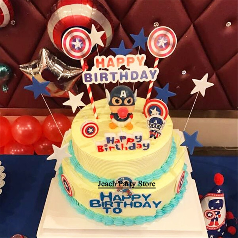 Excellent Topper Cake Toy Superhero Party Birthday Cupcake Toppers Children Funny Birthday Cards Online Elaedamsfinfo