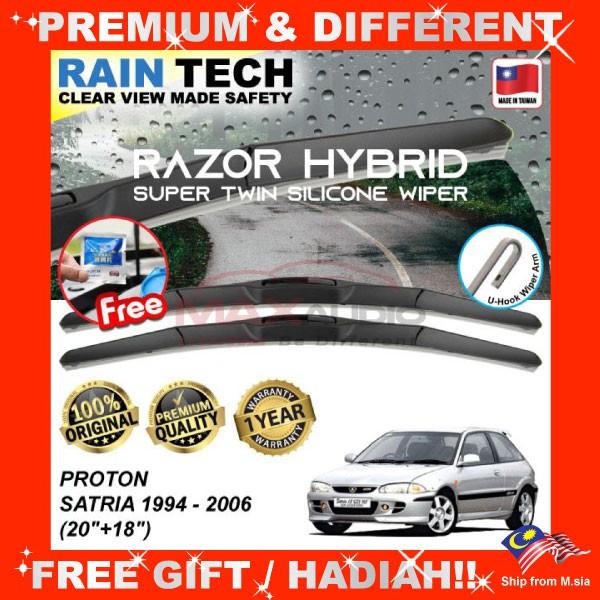 [FREE Gift] PROTON SATRIA 1994 - 2006 (20/18) RAIN-TECH RAZOR HYBRID Silicone Aerodynamic Clean Wipe Safety Wiper Blade