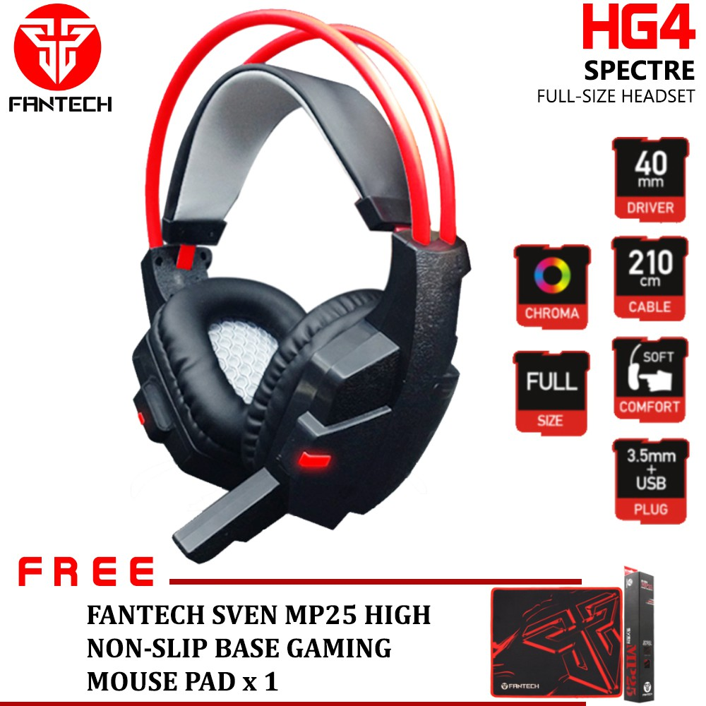 Fantech Headset Hg 2 Mousepad Mp25 Daftar Update Harga Mouse Wireless W556 Spectre Hg4 Wired Gaming 40mm Free Pad Shopee Malaysia