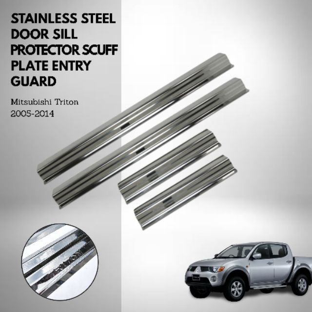 Stainless Steel Door Sill Protector Scuff Plate Entry Guard Mitsubishi Triton 2005-2014