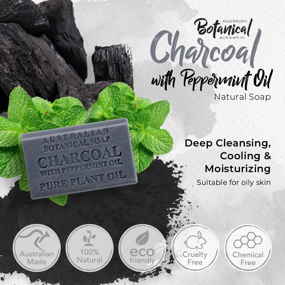 Australian Botanical Charcoal with Peppermint Oil Natural Soap 200g, For Oily Skin, Deep Cleansing,Cooling,Moisturizing